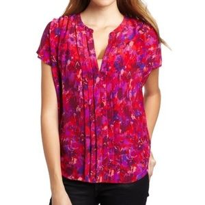 Joie Silk Orly Firey Red Pink pintuck blouse